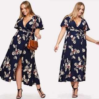 Plussize! Floral Maxi Dress