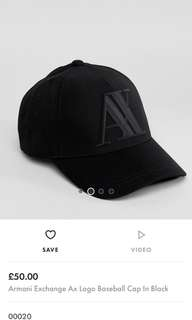 🚚 AX Armani exchange 黑色 棒球帽 老帽 真品