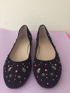 Wittner Black Flats with coloured gems