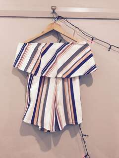 Striped off the shoulder playsuit. Size 8/10. Brand new!