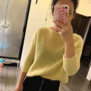 Zara超美鵝黃色針織上衣