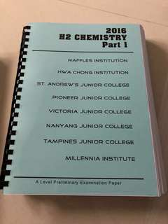 JC H2 Chemistry Prelim Papers 2016