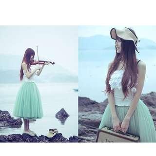 New Fashion Five-Layer Net Gauze Big Swing High Waist Skirt