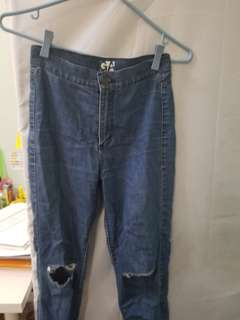 Garage high waisted blue ripped jeans (looks like Topshop Jamie jeans)