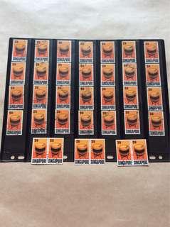 新加坡$10 邮票34Pcs用过邮票