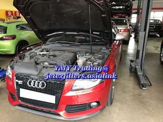 Audi A3 1.4TFSI replaces Jetex high flow performance drop in air Filter with 99% filtration at 2.8 microns with 1.14 kpa air restriction test ..#jetexfiltersasialink