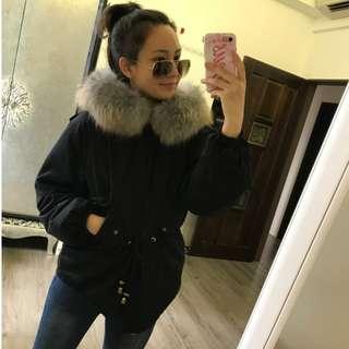 韓國買回來的超大毛領羽絨外套