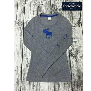 【二手好物】a&f girls 小女生 經典藍麋鹿logo 灰色長袖T(適合小女童哦)