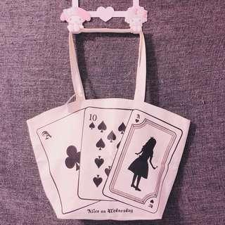 🚚 日本帶回Alice愛麗絲撲克牌托特包