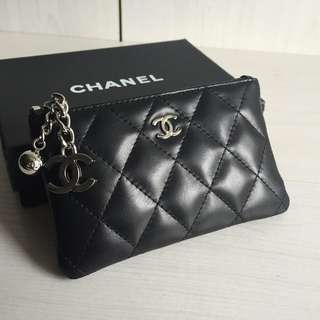 Chanel Coin Purse with Silver Tone Medal