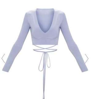 Long sleeve tie waist crop top