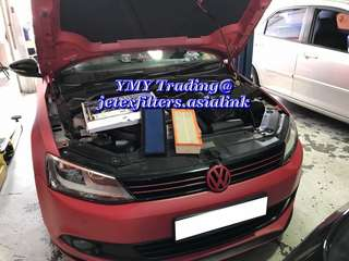 Jetta Twin turbo upgrades LTA approval twin tip catback system with Jetex high flow performance drop in air Filter with 99% filtration at 2.8 microns   #jetexfiltersasialink  #jetexexhaustsasialink