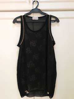Black sleeveless top w/ lace details