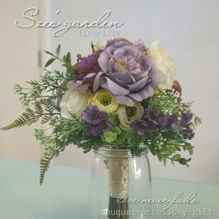 紫色新娘絲花花球 wedding bouquet