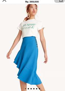 Pomelo Blue Ruffled Asymmetrical Pencil Skirt
