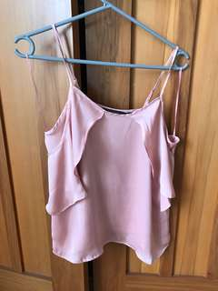 Pink silky glassons top