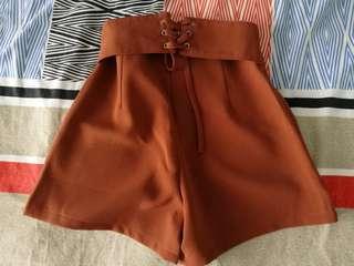 High Waist Cross Design Pants