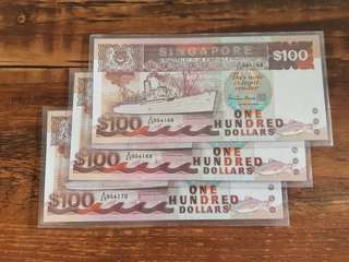 UNC Running $100 Ship Note A/29 954168/69/70