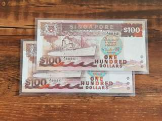 UNC Running $100 Ship Note A/31 968391/2