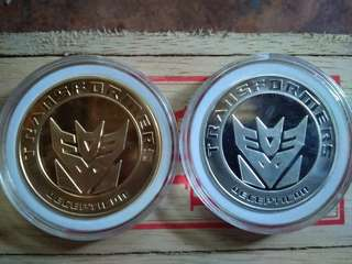 Limited collectable transformer silver and gold plated coins
