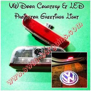 VW Volkswagen Logo Courtesy Greetings LED Light cum Ghost Shadow Projector Lamp Jetta Passat CC Golf Tiguan Touareg Scirocco EOS Sharan