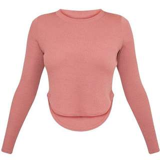 PLT Rava Rose Jersey Rig Curved Top / Ribbed Top / Ribbed Long sleeve