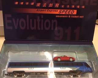 機場快綫紀念模型(還有一個保時捷911模型車)