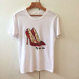 韓國白色高跟鞋亮片寶石T恤