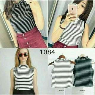 👕Stripe Crop Turtle Neck | Atasan Leher Tinggi Garis