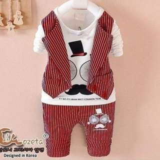 Baju Setelan Anak Casual Linen Merah