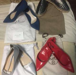 Authentic Bottega, jimmychoo, hermes, dior shoes all size 38! For take all!!