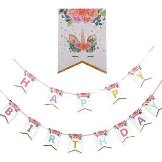 🦄 Unicorn theme party supplies - Birthday banner bunting / party deco