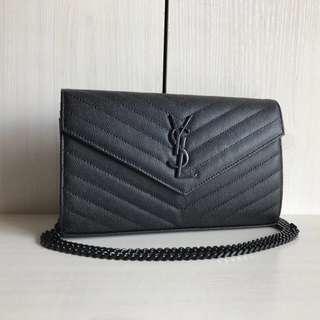 YSL Caviar WOC 22cm with Black Chain