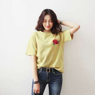 Yellow Rose Embroidery Top T shirt