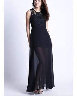topazette fleur maxi dress - black