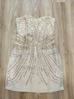 Great Gatsby gold sweetheart dress
