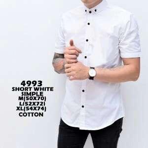 Kemeja pria lengan pendek slimfit putih simple 4993