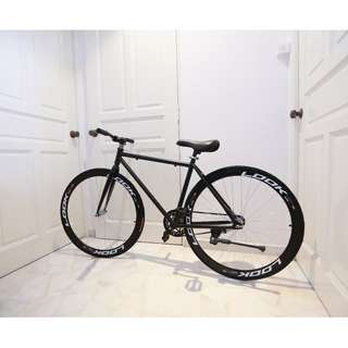 "TIME SALES 26"" Matte Black Frame Fixie with Black Rim and Black Tyre"