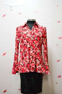 Red Floral Pleat Blouse