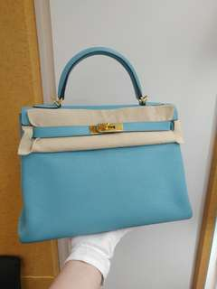 Hermes kelly 32 blue atoll