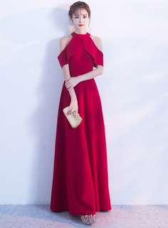 Maxi: Red Flouncing Off Shoulder Prom Dress (One Size) - OA/DZD121412