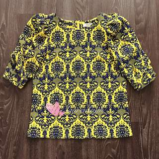 Korea Abstract Print Top in Yellow