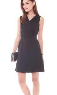 Front Wrap Work Dress (Black)