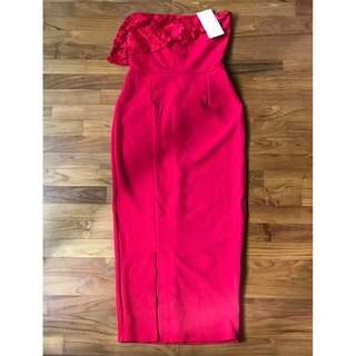 Silver Bloom Bandeu Midi Dress with Overlay UK 8 Red