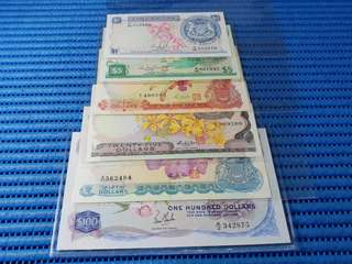 Singapore Orchid Series $1, $5, $10, $25, $50 & $100 Note Dollar Banknote Currency ( Lot of 6 Pieces. )