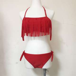 🚚 全新紅色流蘇綁帶比基尼泳衣|Janet Style