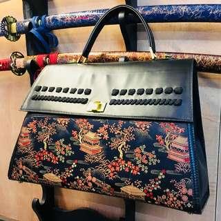 Samurai Armour & Kimono Fabric Hand-carry Bag【HANDCRAFTED】