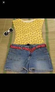 Yellow top and denim shorts bundle