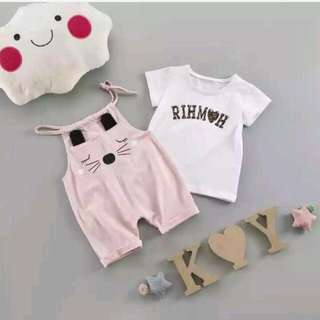 全新韓版夏季兩件式兒童套裝