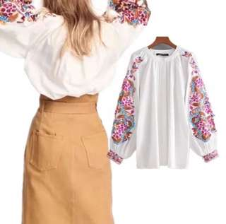 Plus Size Loose Lantern Long Sleeve Embroidery Pattern Loose T-shirt blouse